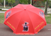 Full Color Print Outdoor Parasol Payung Tahan Angin dengan Shaft Dilapisi Bubuk Putih
